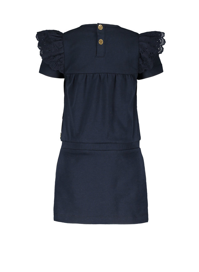 Flo baby girls jersey broidery anglais dress Navy F102-7830