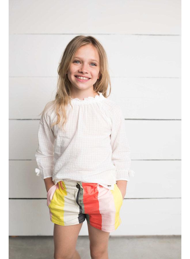 Flo rainbow denim short Yellow stripe