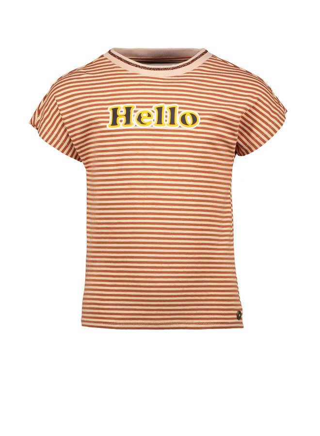 Flo girls YD stripe tee Cognac stripe