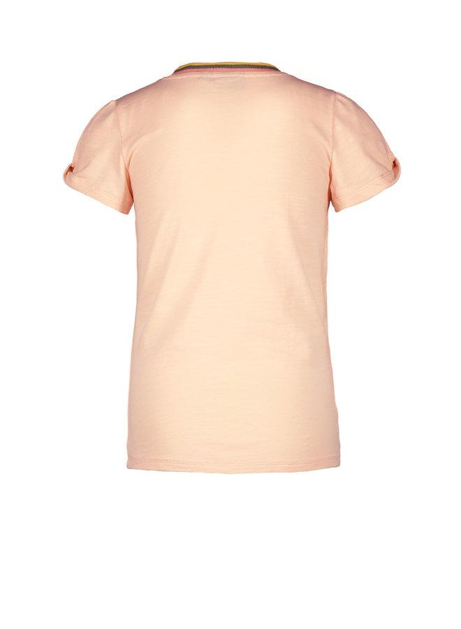 Flo girls tee open shoulder roll, rib neck Lt pink