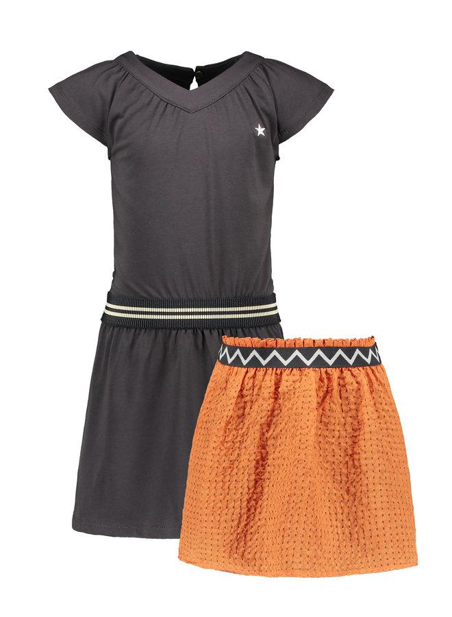 Flo girls jersey V-neck dress with detachable fancy skirt Antra
