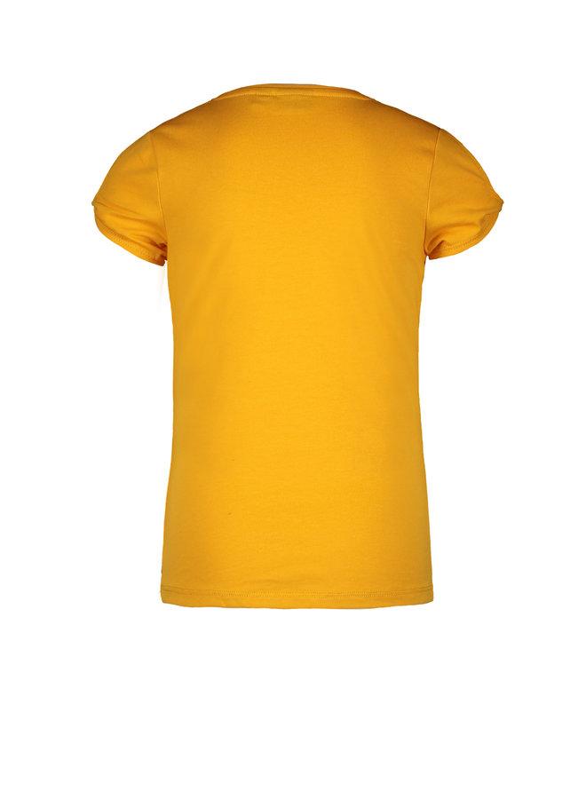 Flo girls jersey tee open shoulder roll Sunflower