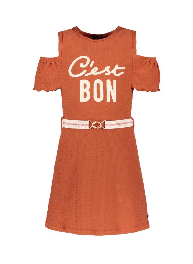 Flo girls fancy jersey open shoulder dress Cognac