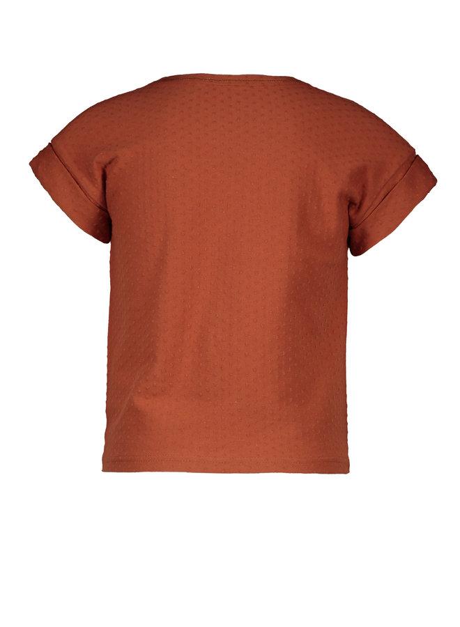 Flo girls fancy jersey knot top Cognac