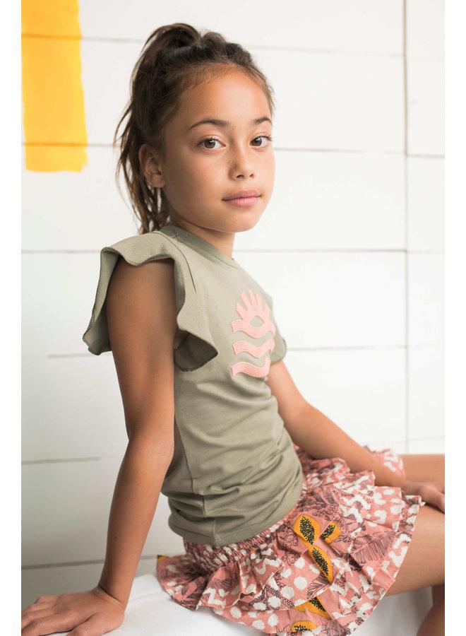 Flo girls AO woven smock ruffle skirt Pink papaya