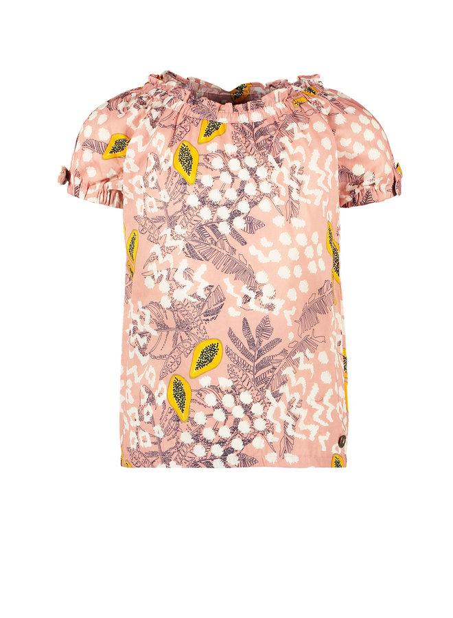 Flo girls AO woven open shoulder top Pink papaya