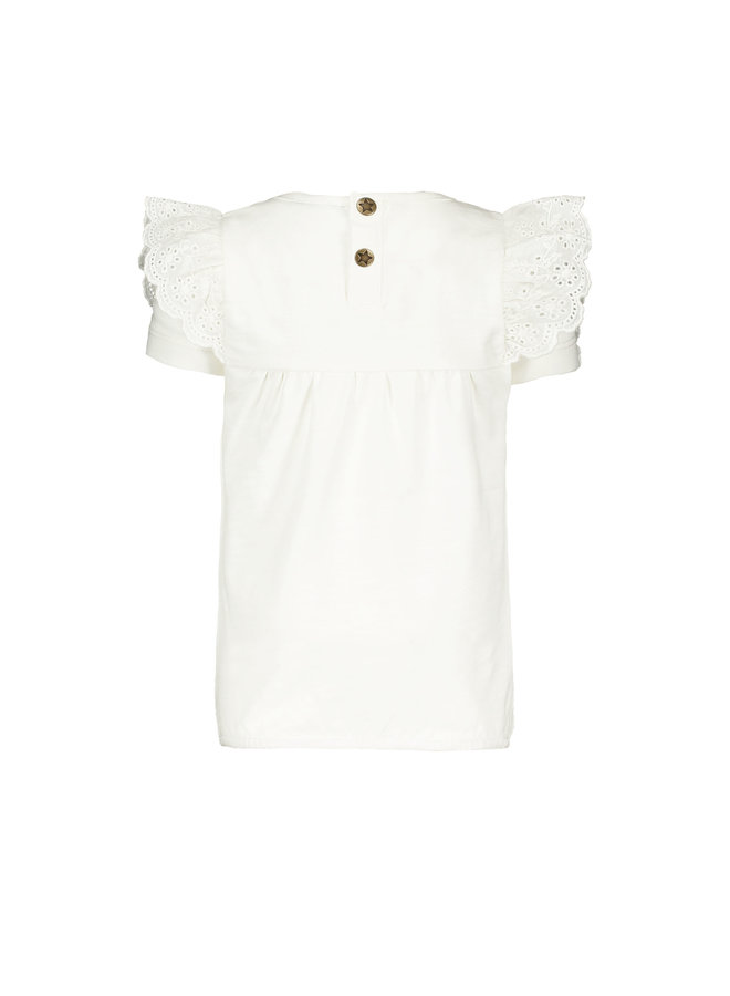 Flo baby girls jersey broidery anglais ruffle top Off white