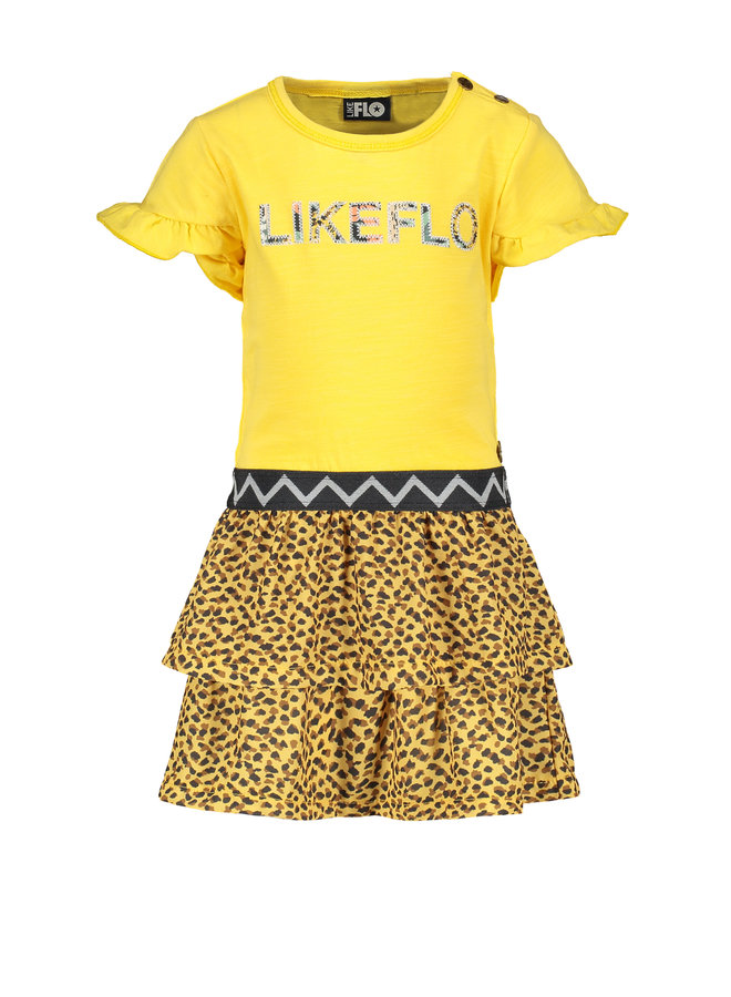 Flo baby girls jersey dress with panter skirt Honey