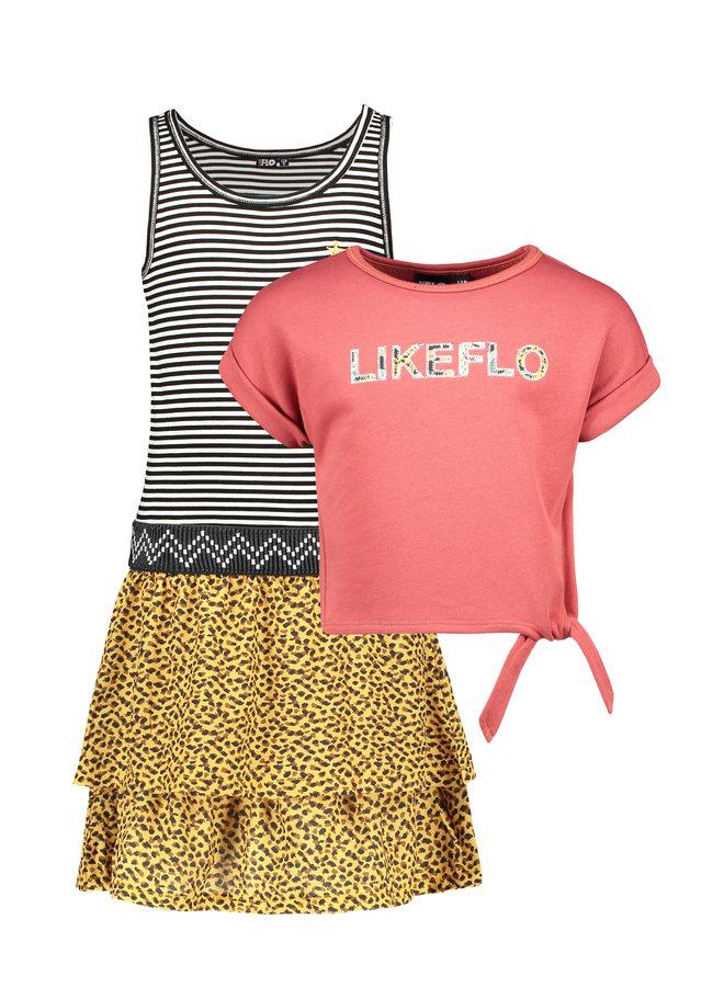 Flo girls 2pc light sweat knotted sweater dress Blush