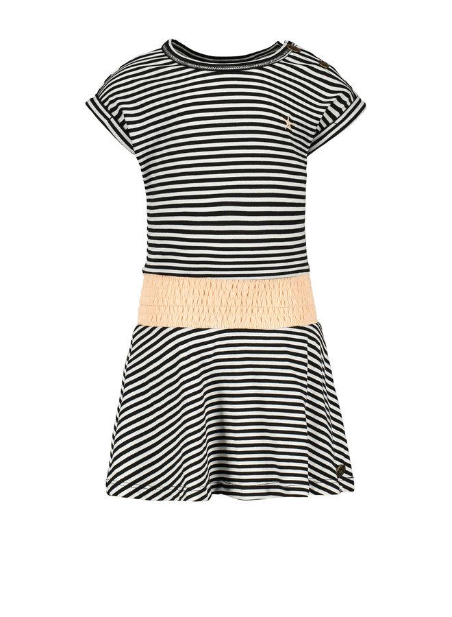 Flo baby girls jersey dress high smock waist Black