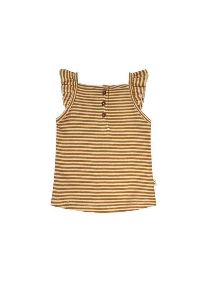 Gold Stripes | Ruffle Singlet Soft Yellow