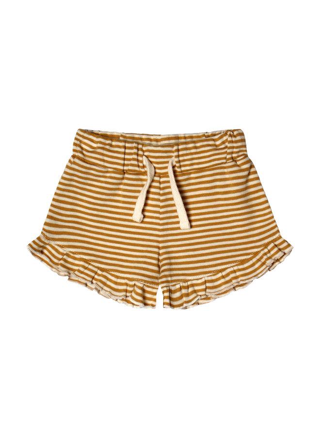 Gold Stripes | Ruffle Shorts Soft Yellow