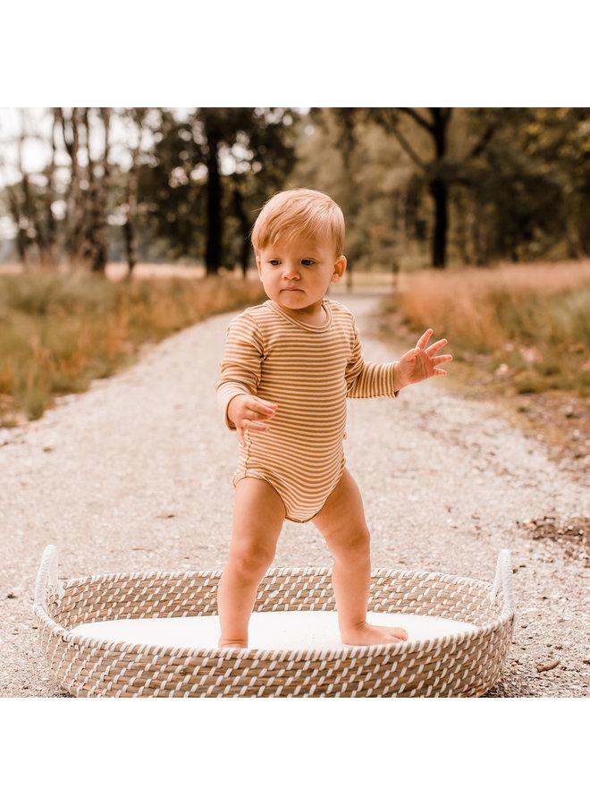 Gold Stripes | Longsleeve Romper Soft Yellow