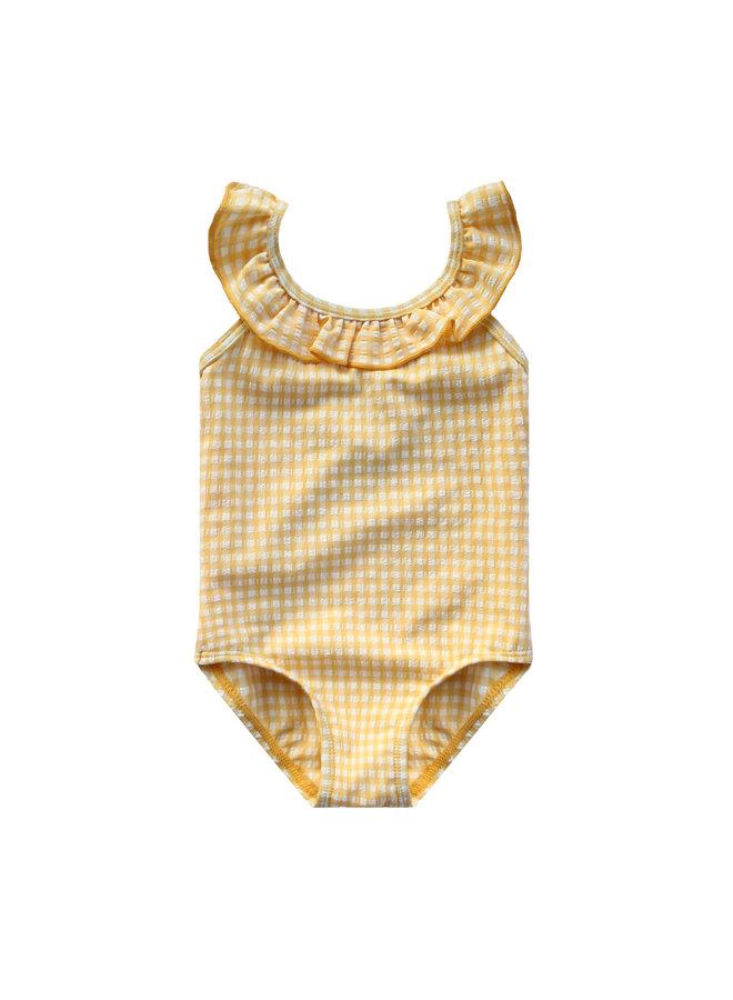 Gold Checks   Ruffle Swimsuit Sunny Yellow