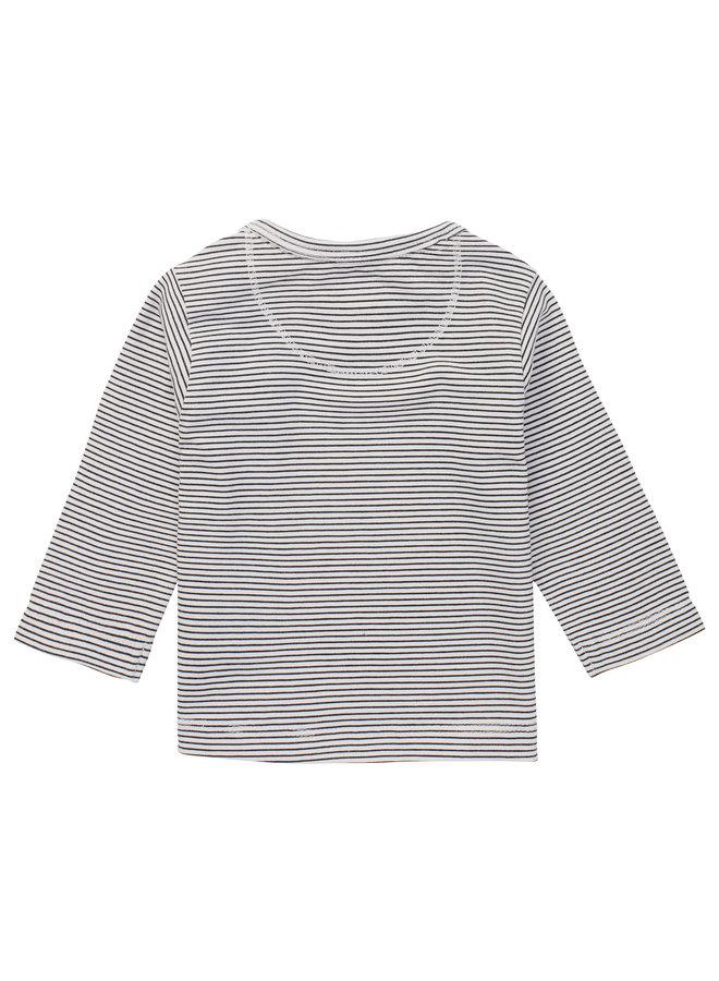B T-shirt stripe LS Trente White Sand