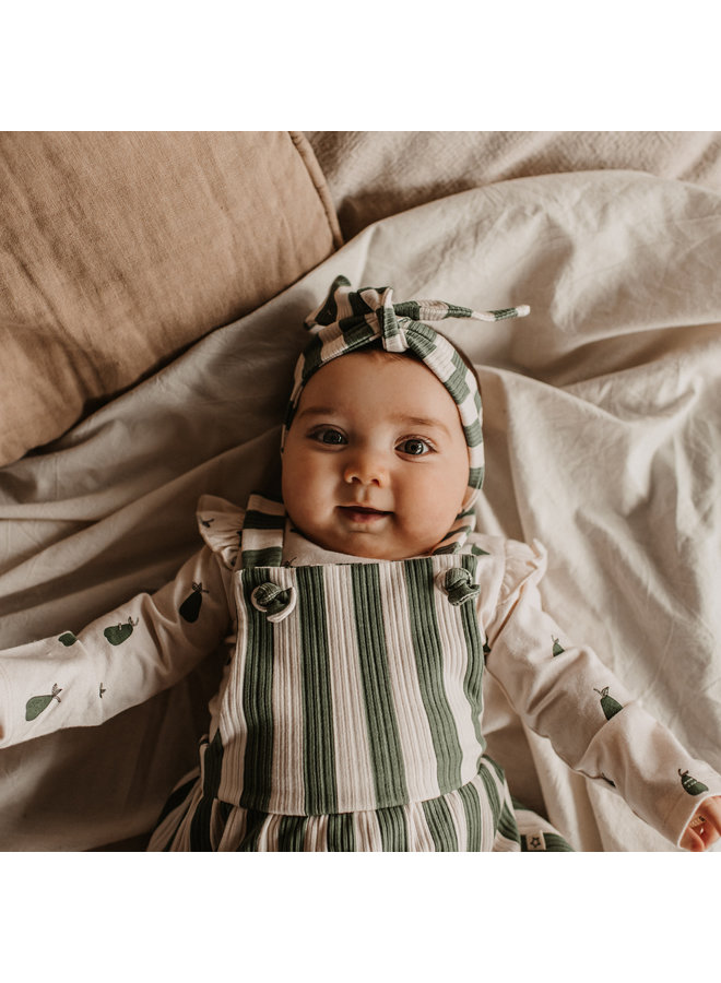 Bold Stripes | Dungaree Dress Old Green