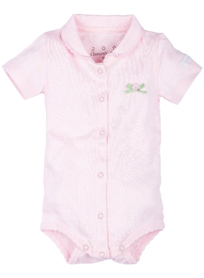 Baby Onesie Ss With Collar - Baby Pink - Cl 60