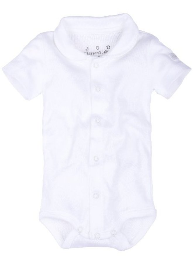 Baby Onesie Ss With Collar - White - Cl 60