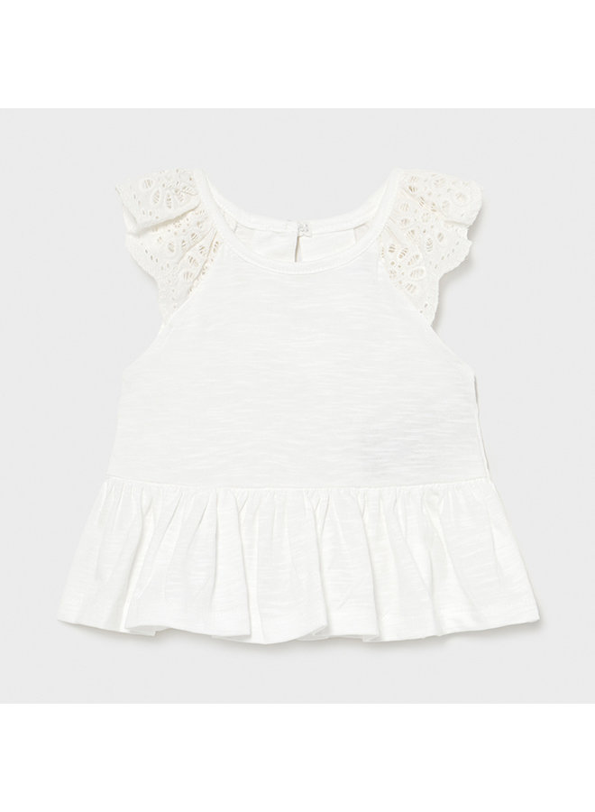 L/s cotton t-shirt White