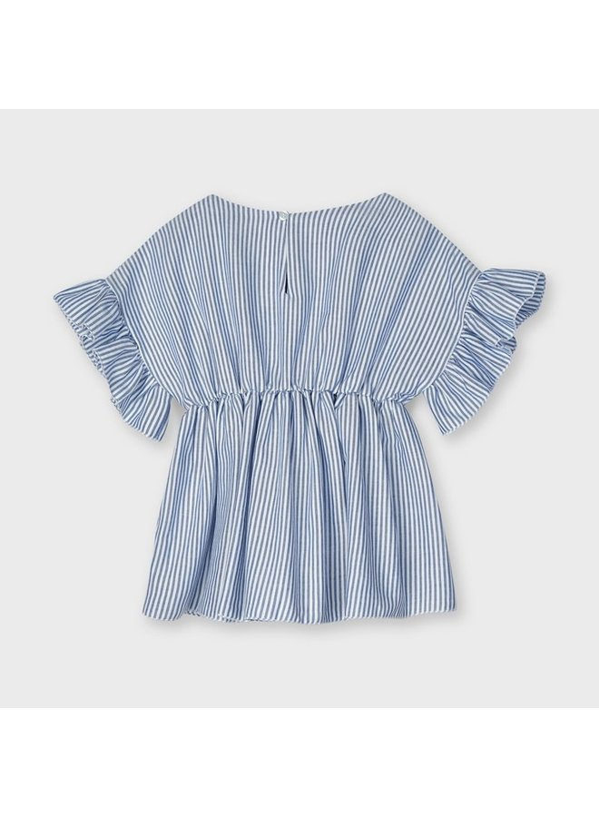 blouse with ruffle sleeve Ink