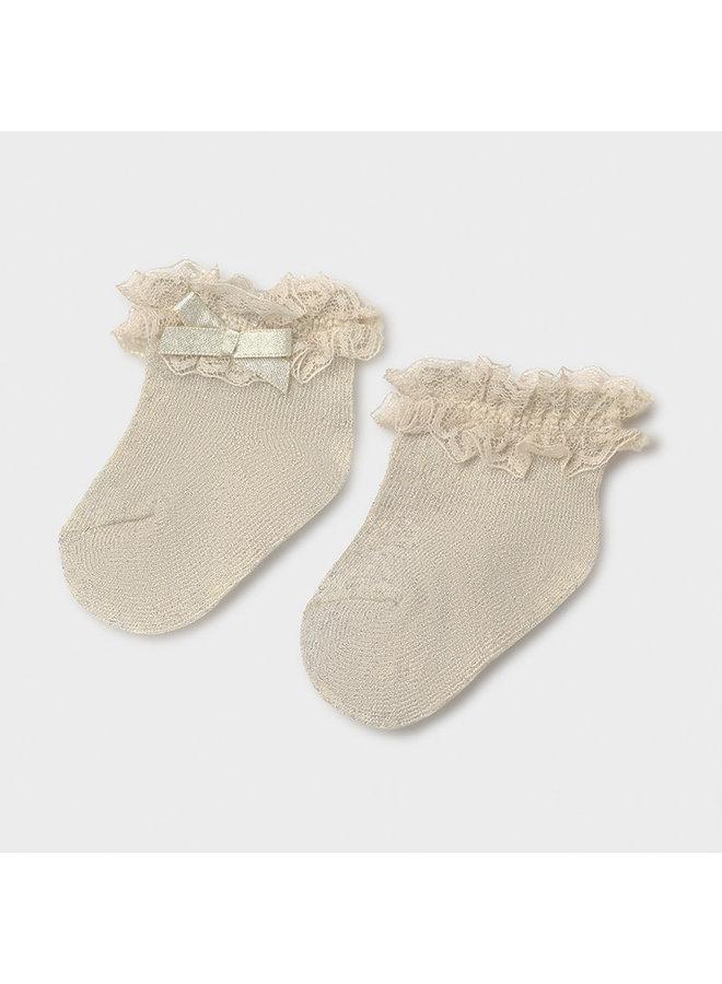 Dressy socks beige lurex