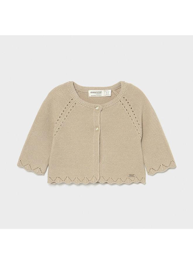 Basic knit long cardigan beige lure