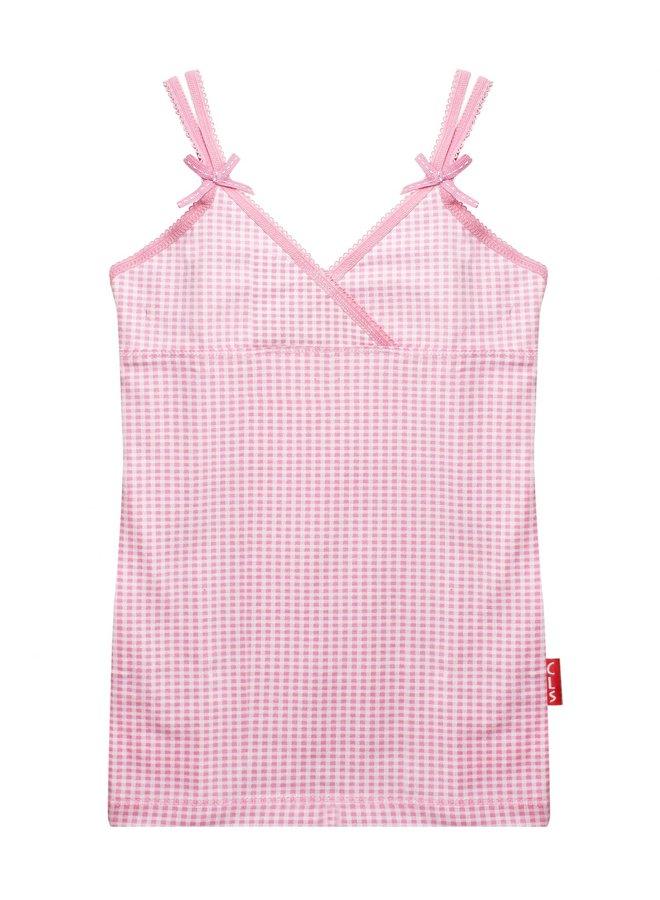 Cl 936/Girls Singlet Small Pink Checks