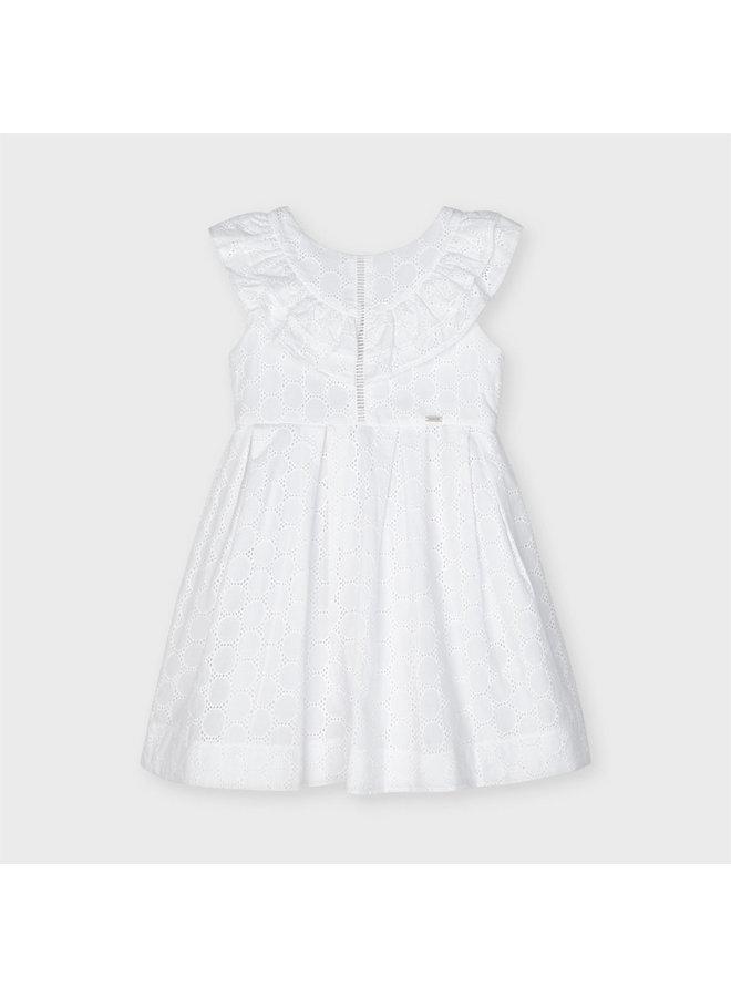 perforated poplin dress White