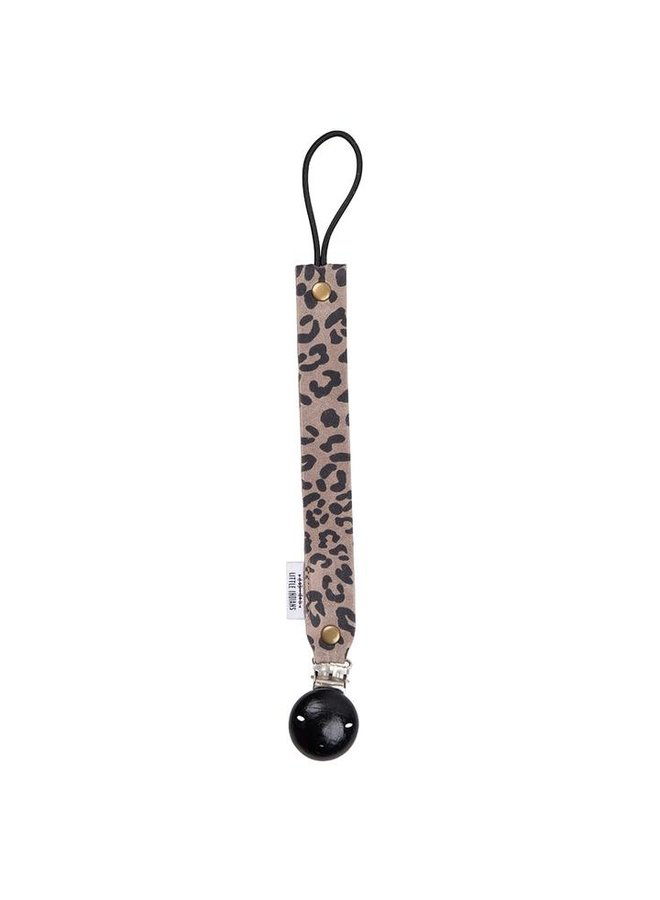 Pacifier clip Leopard Small Grey