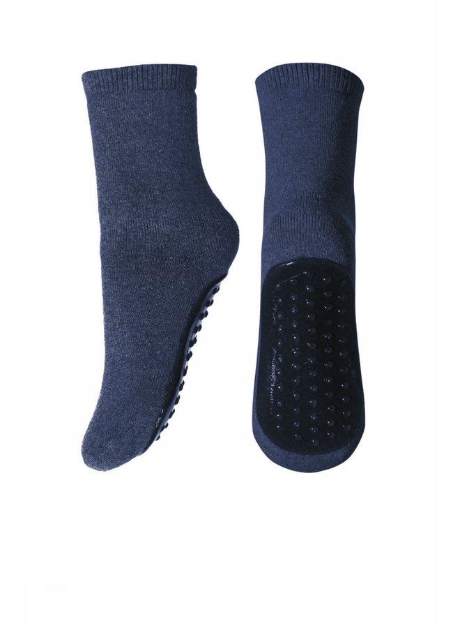 Cotton socks with anti-slip Dark Demin Melange