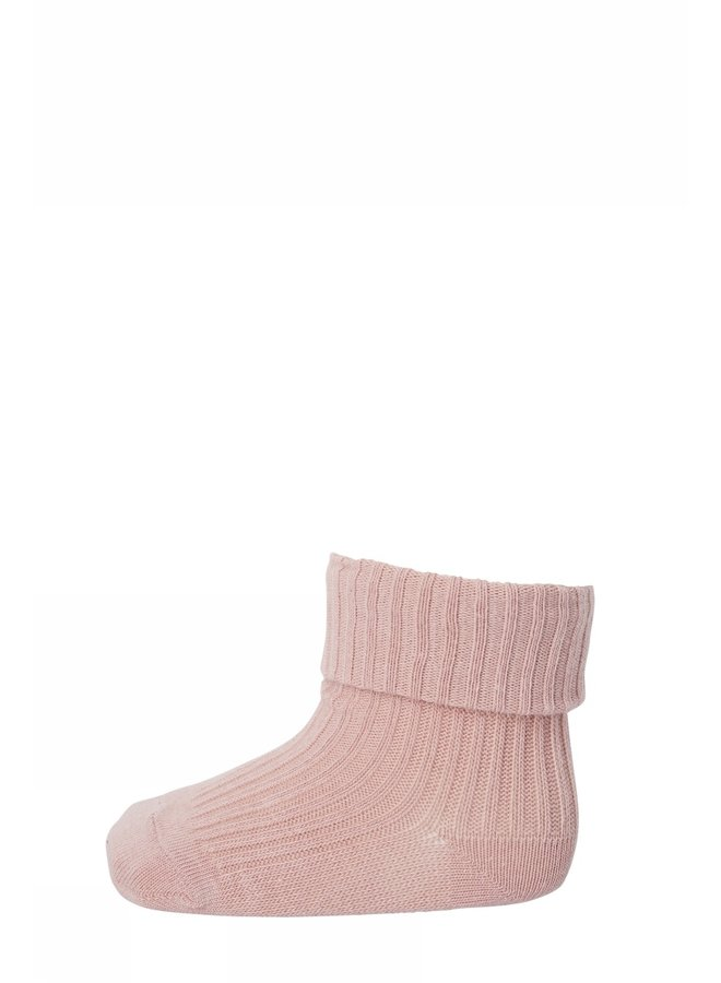 Cotton rib baby socks Rose Dust