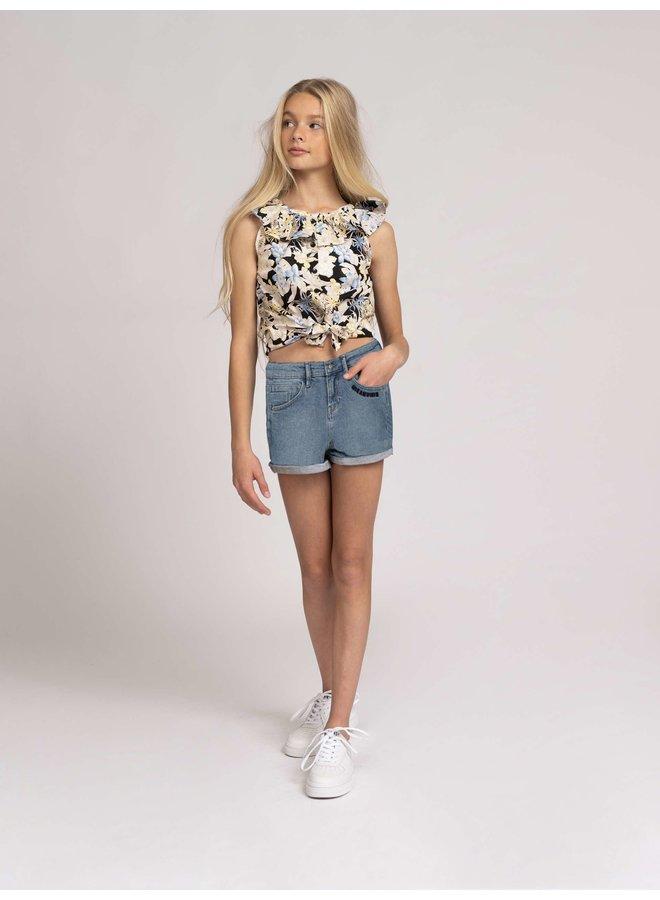 Sara Denim Shorts Blue Denim