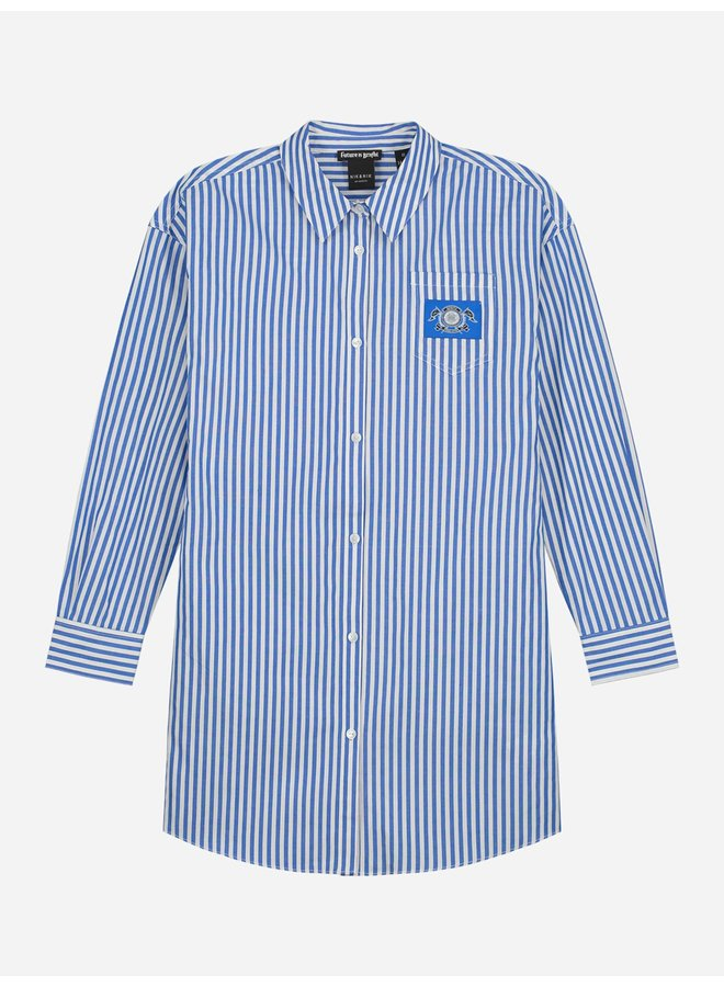 Olena Shirt Dress Off White/Royal Blue