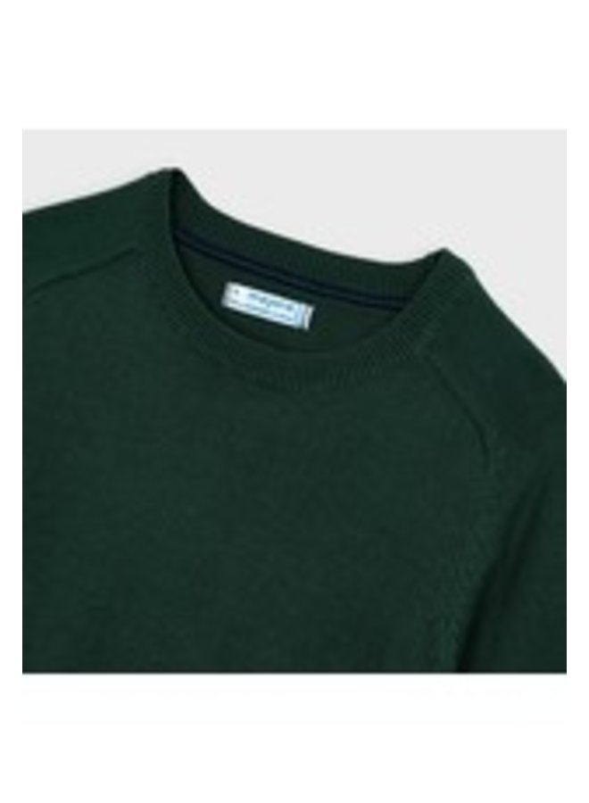 Basic cotton sweater w/round Spanish Fir