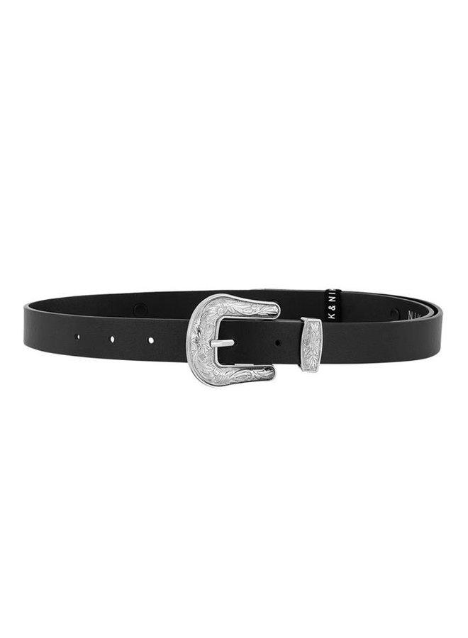 Bibian Long Belt Black/Silver