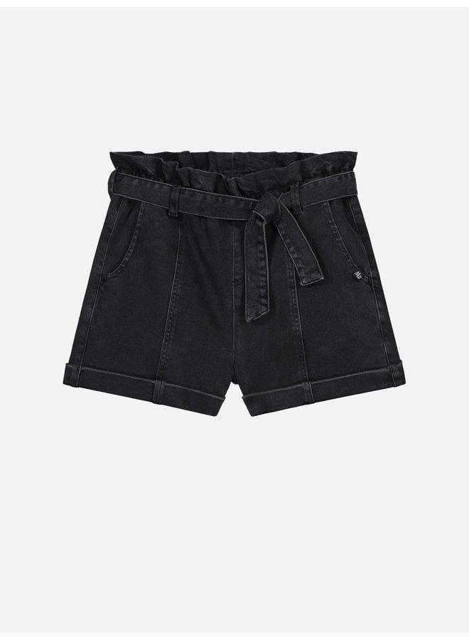 Franja Denim Shorts Black Denim