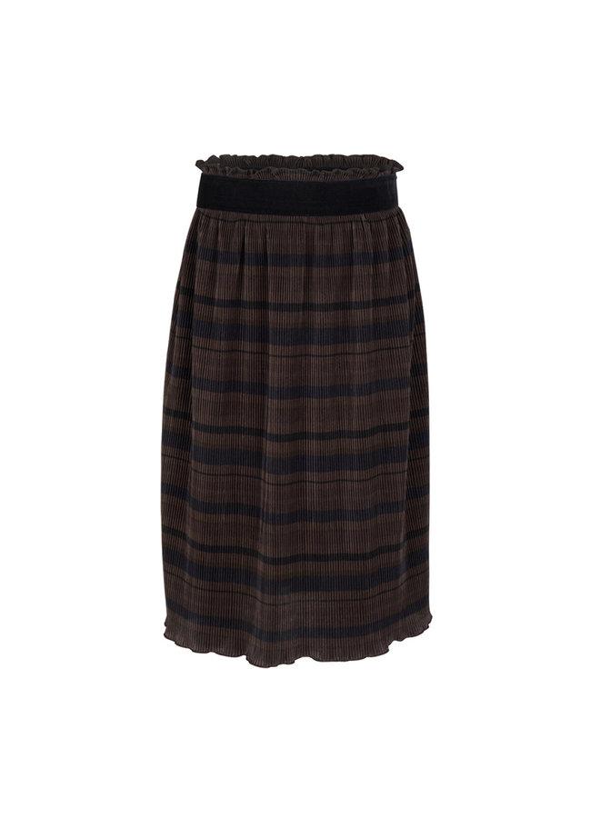 Pleated Stripe Skirt Striped