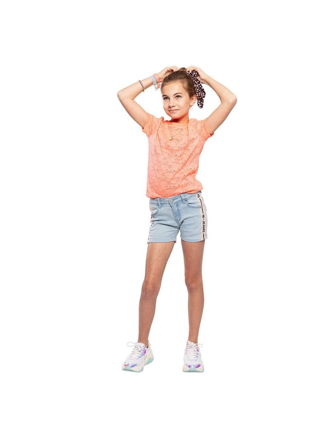 T-Shirt SS Lace Bright Coral
