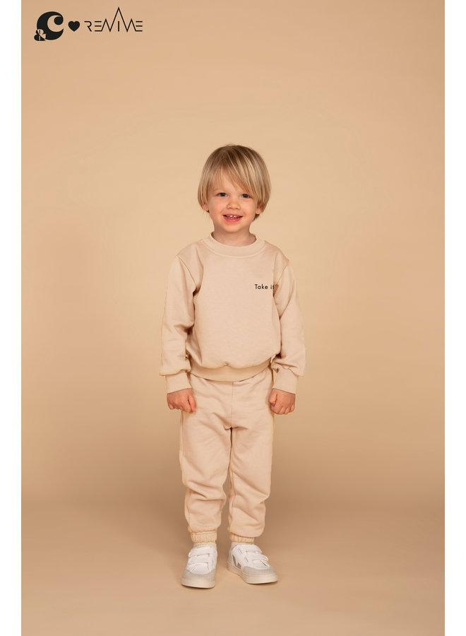 Kids Joggingset Boy &C beige Take it Easy
