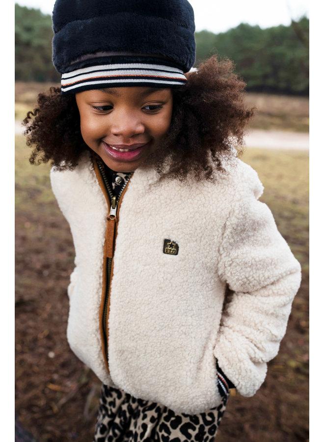 Flo girls fur hat with rib - Navy