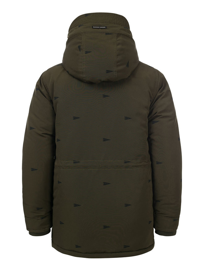 Parka jacket with print - Moss Green