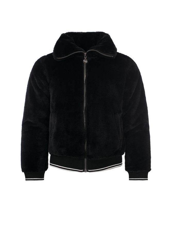 10Sixteen fur bomber jacket - Off Black