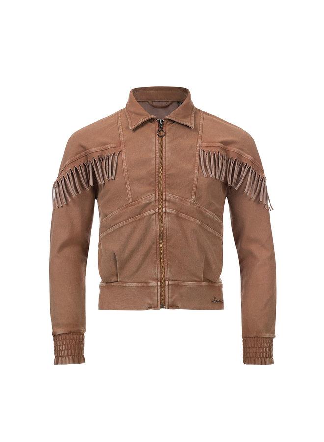 10Sixteen G.dyed twill jog jacket - Medium Brown