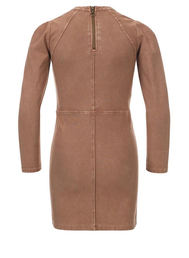 10Sixteen G.dyed twill jog dress - Medium Brown