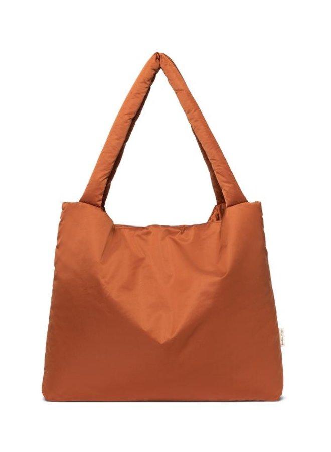 Rust puffy mom-bag