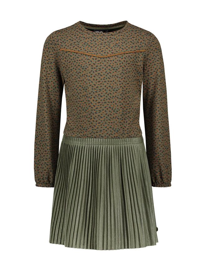Flo girls jacquard jersey dress with short plisse skirt - Army