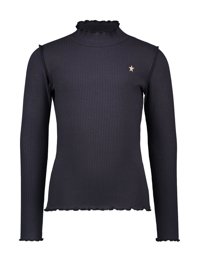 Flo girls rib ls turtle neck top with lace - Navy