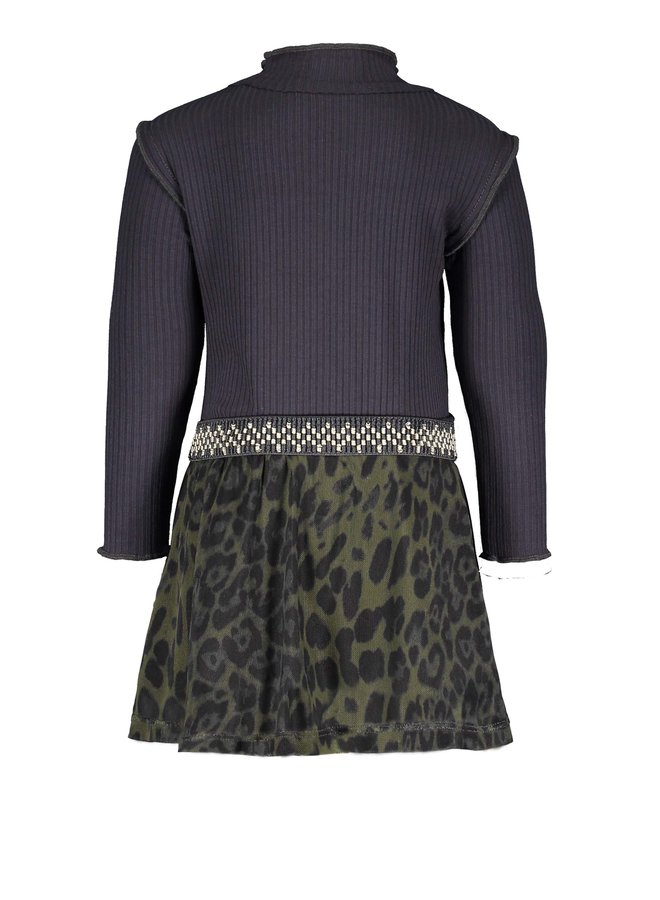 Flo baby girls rib dress woven skirt - Navy