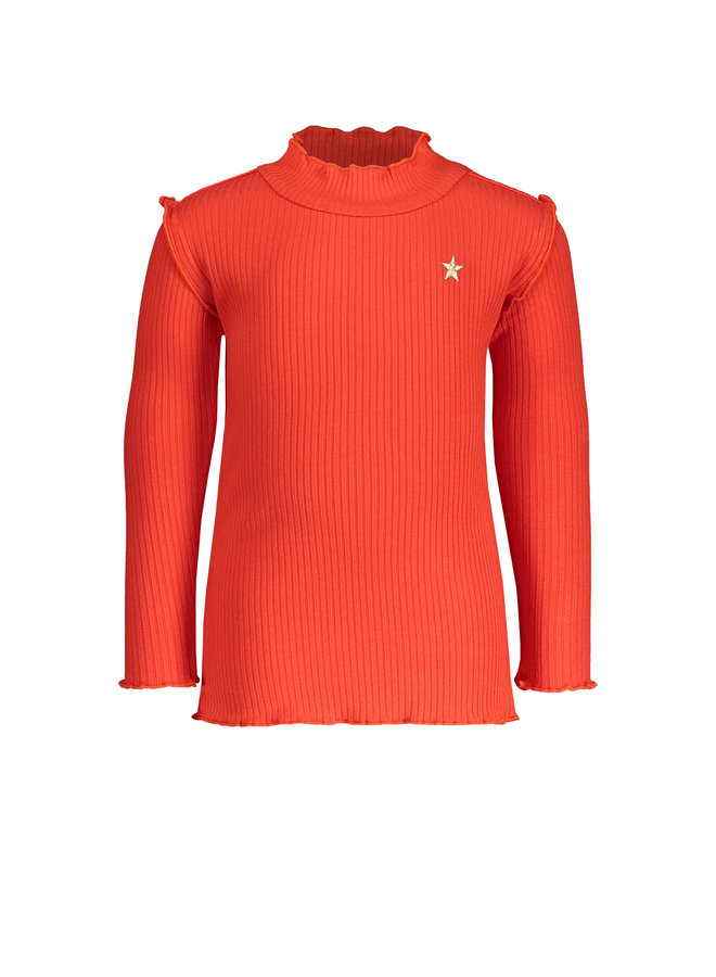 Flo baby girls rib ls turtle neck top - Coral