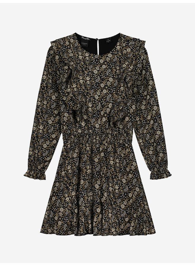 Irene Paisley Dress - Black